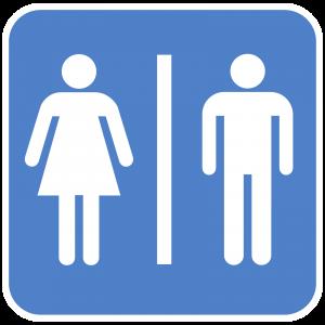 Blue bathroom gender sign.