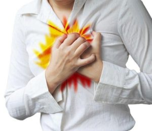 woman holding chest because her acid refluxes is flaring up