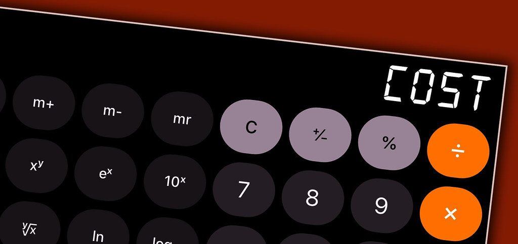 Calculator with the word cost in the terminal.