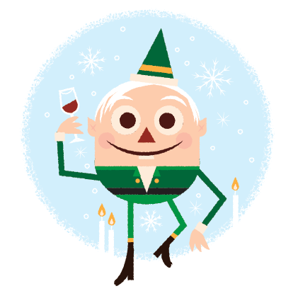 Holiday elf holding a glass of wine.