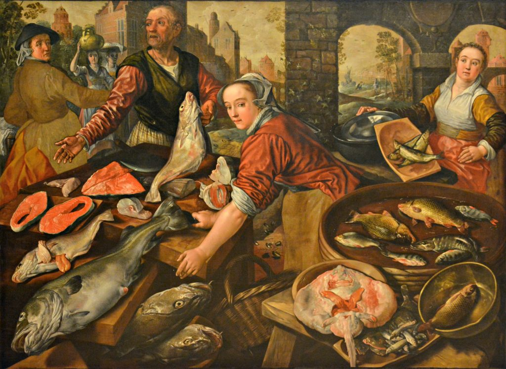 Middle ages painting of a fish market.