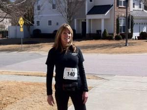 nancy wearing her race number
