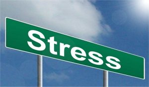 A sign that says stress.